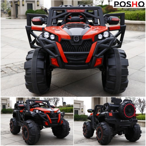 Posho Red 4x4 (4WD) Kids Ride on Jeep with Remote