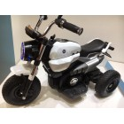 White 12V Retro 2 Motor Kids Ride on Motorbike for 3 to 8 Years