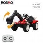 Red 6V Kids Electric Ride On Excavator Tractor Digger With Remote