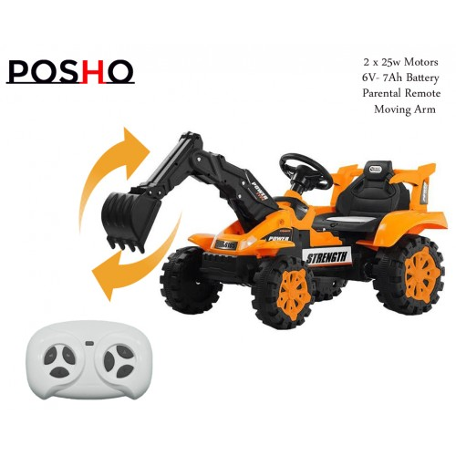 Orange 6V Kids Electric Ride On Excavator Tractor Digger With Remote