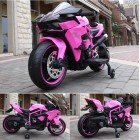 HK-H2R Pink 12V Kids Ride on Ninja Motorcycle with Hand Race