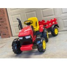 Large Red 12V Kids Ride on Tractor Trailer With Parental Remote
