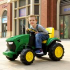 Large Green 12V Kids Ride on Tractor with Trailer
