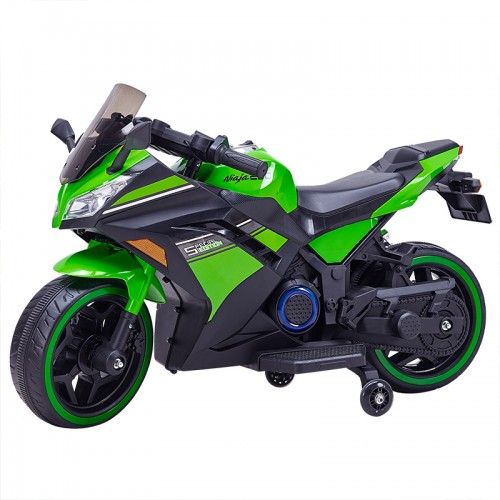 DLS07 Green 12V Kids Ride on Sport Motorcycle with Hand Race