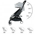 Grey Compact Lightweight Baby Stroller Pram Easy Fold Travel Carry on Plane