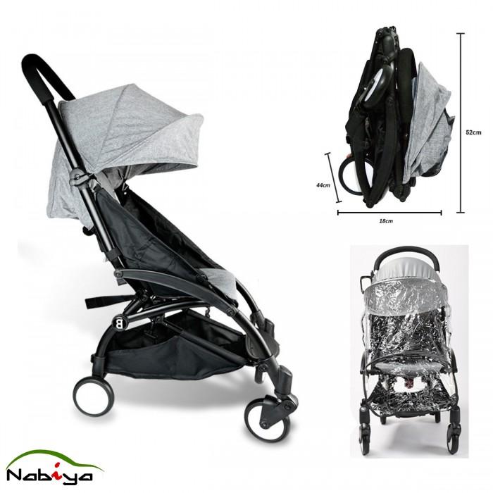 Grey Compact Lightweight Baby Stroller Pram Easy Fold